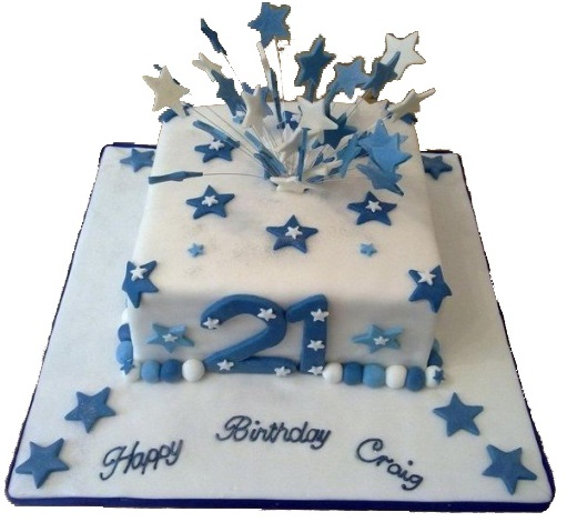 21st Birthday Cake For Boys With Star Candles