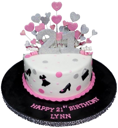 21st Birthday Cake for Girls with Love Shaped Candles