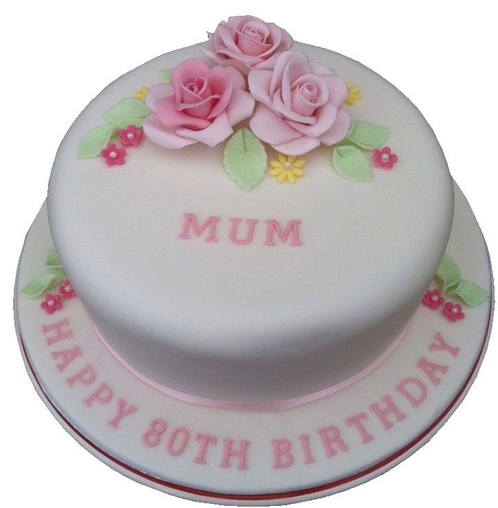 Rose Layered 80th Birthday Cake For Mum