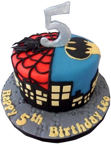 Batman & Spiderman 5th Happy Birthday Cake