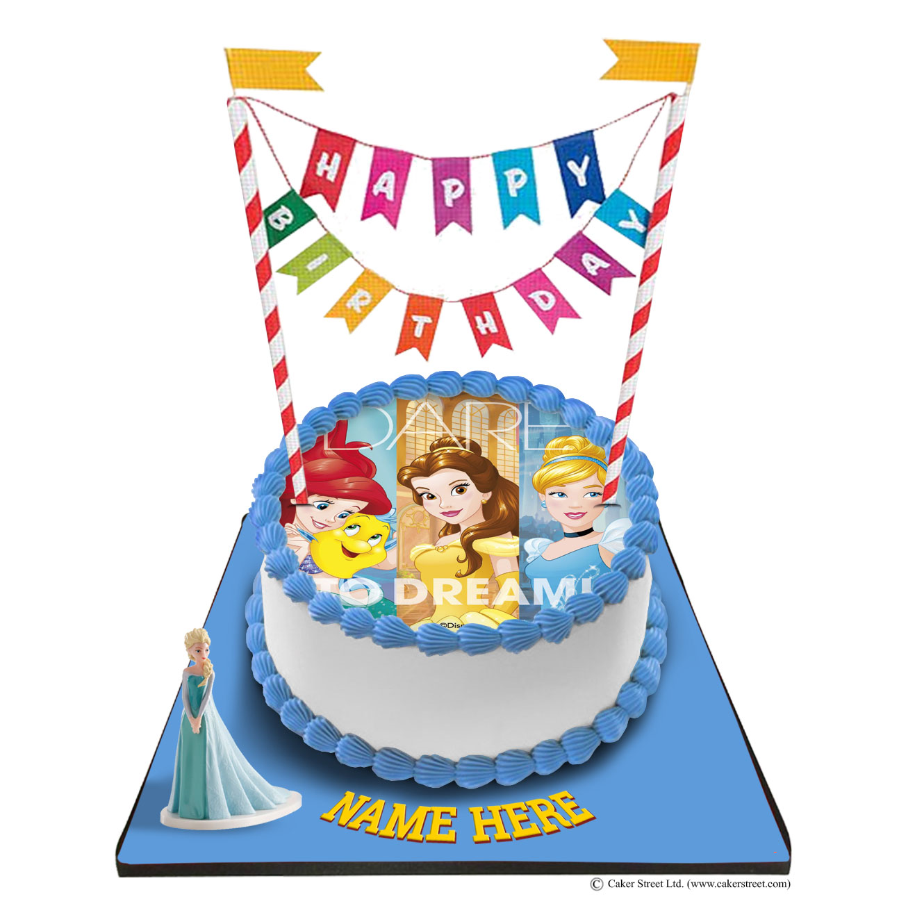 Disney Princess Cake With Happy Birthday Bunting &Topper