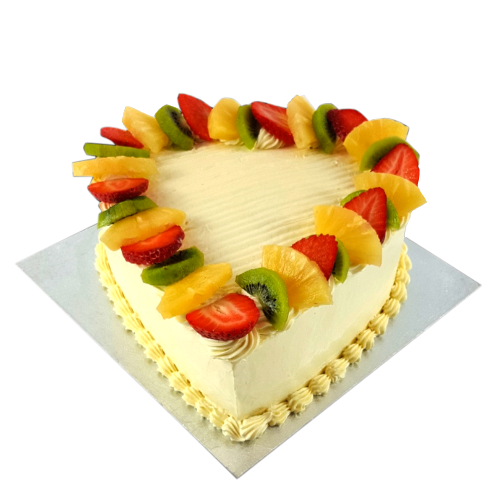Heart Shaped Anniversary Cake with Fruits