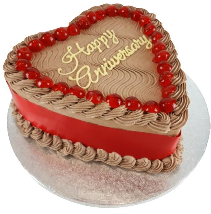 Heart Shaped Chocolate Anniversary Cake