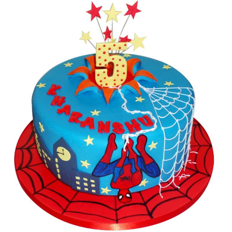 Kids Fun Spiderman Birthday Cake
