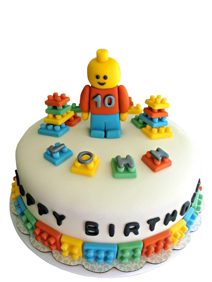 Lego Themed 10th Birthday Cake For Boys