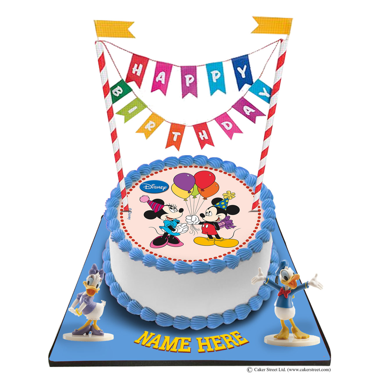 Minnie mouse Cake with Happy Birthday Bunting &Toppers