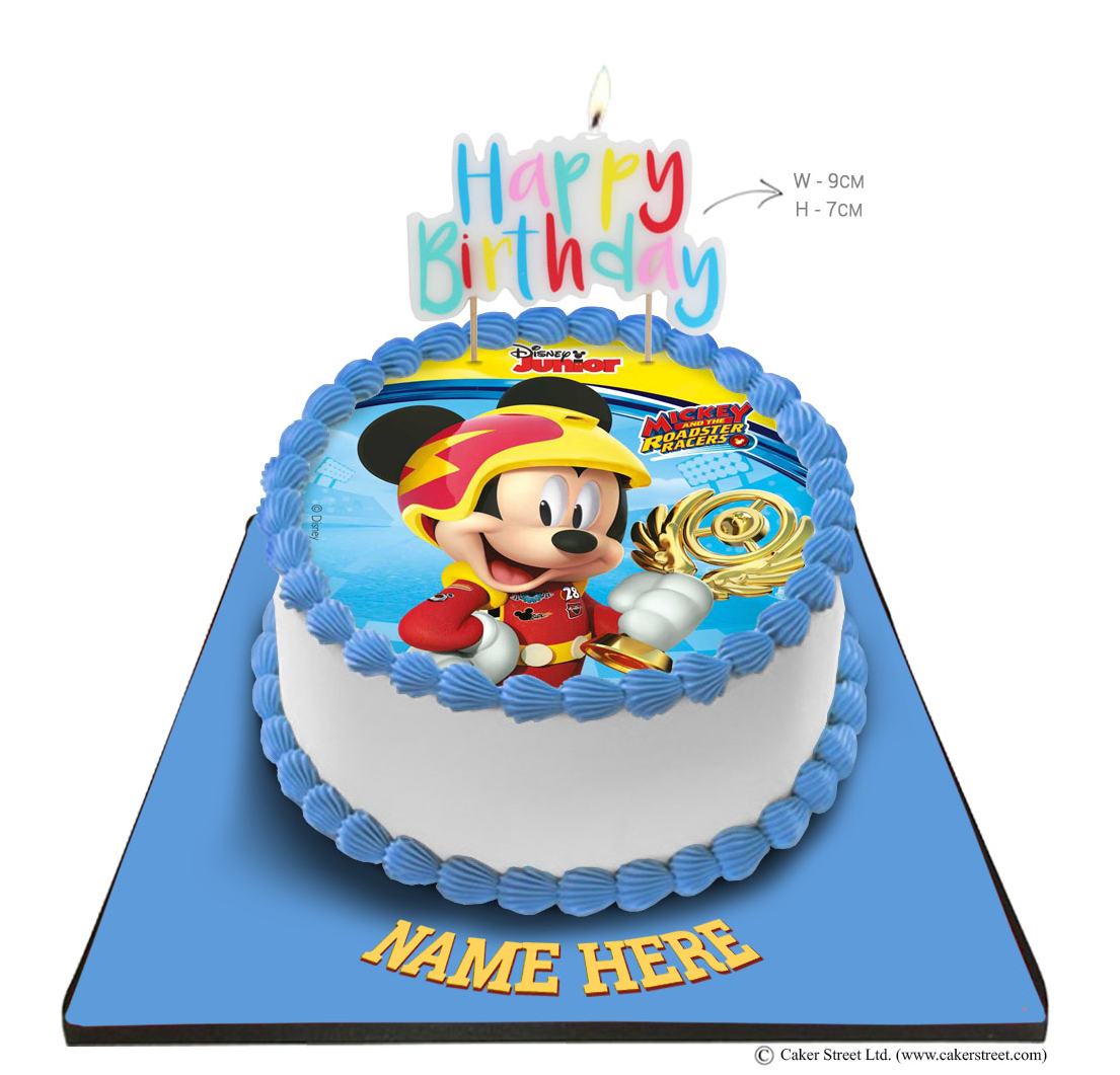 Mickey Mouse Cake with Happy Birthday Candle