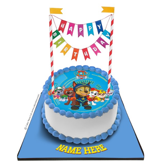 Paw Patrol Cake with Happy Birthday Bunting
