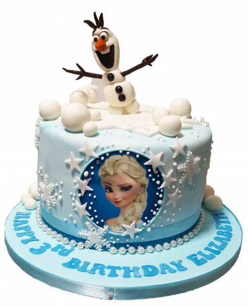 Princess Elsa Frozen Cake With Olaf topper
