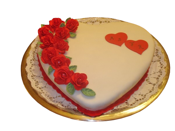 Roses Topped Valentines Day Cake