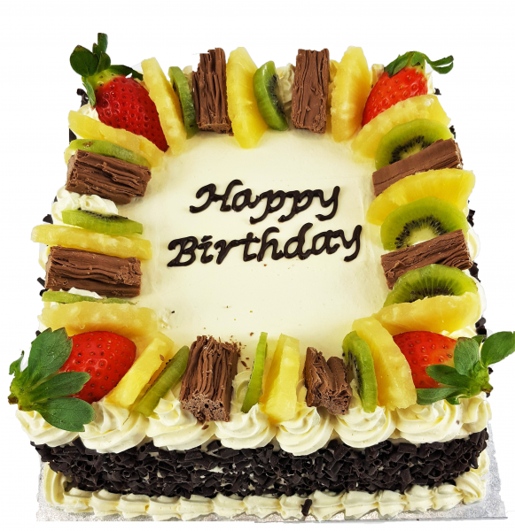 Square Birthday Cake with Fruit Topper
