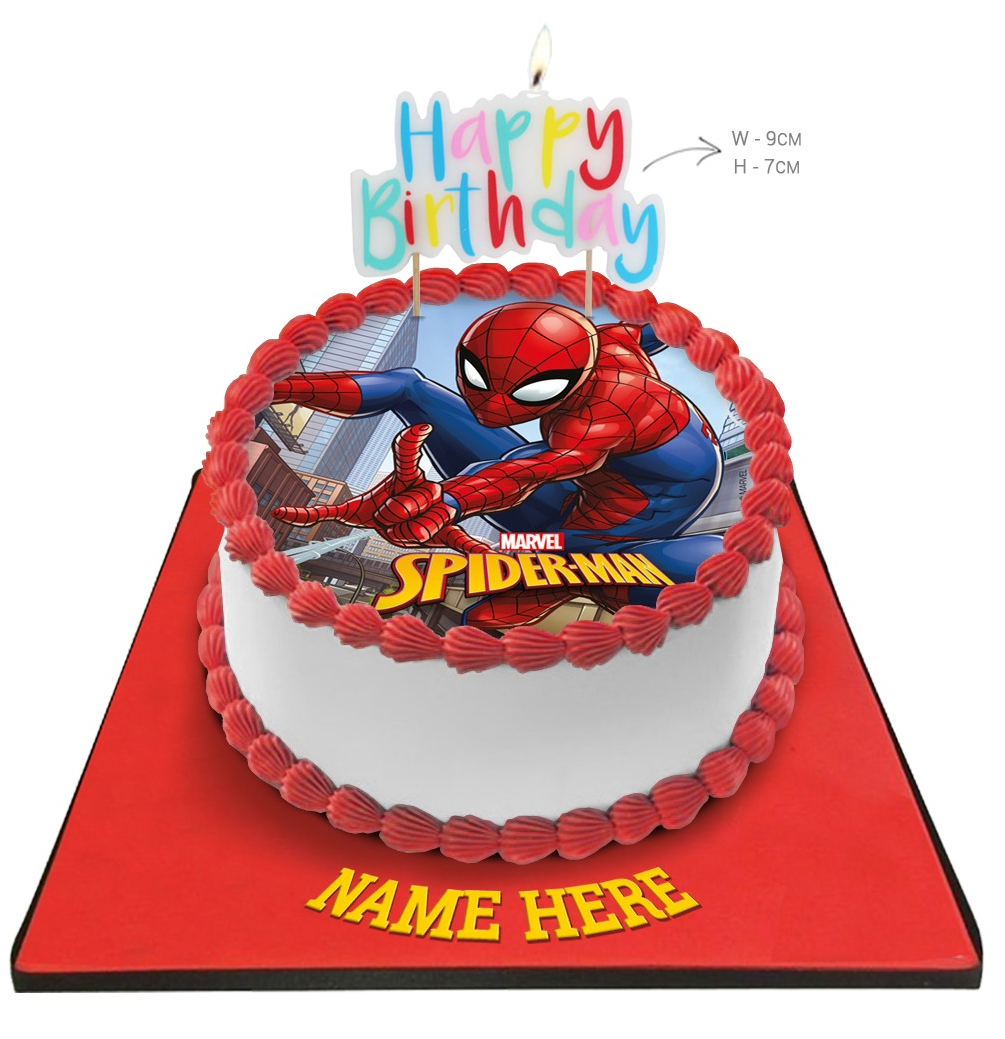 Spiderman Birthday Cake with Happy Birthday Candle