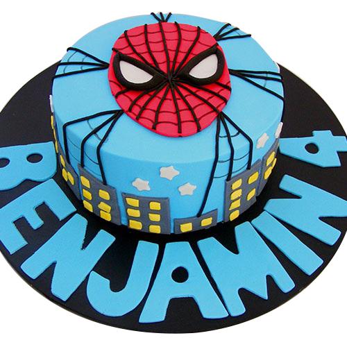 Web Mask Night Themed Spiderman Birthday Cake For Kids
