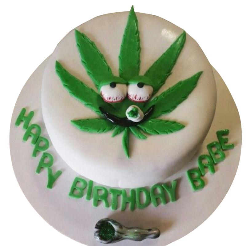 Weed Shaped Cake