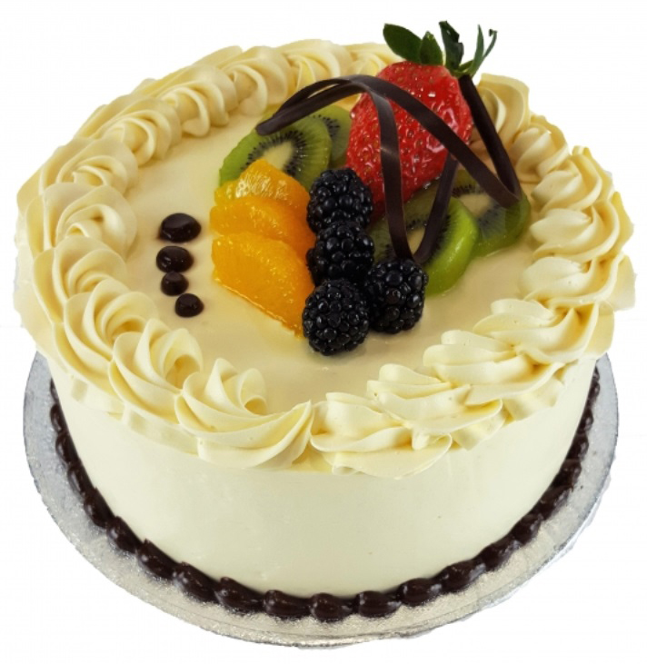 White Birthday Cake with Fruits